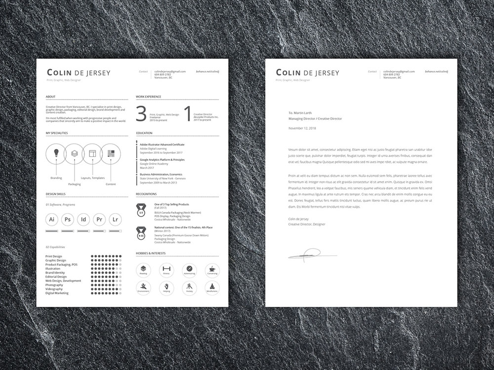 Free Clean Infographic CV Template with Cover Letter Page