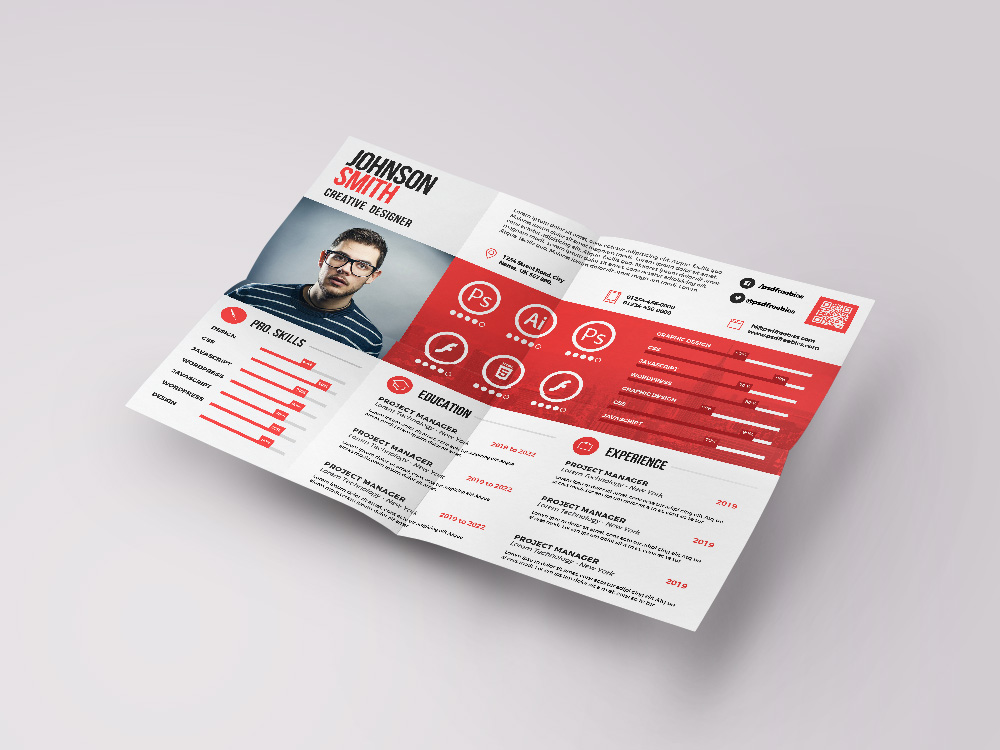 Here Is Free Landscape Resume Template In PSD File Format With Clean And Elegant Look Come Horizontal Layout This Design Comes 3