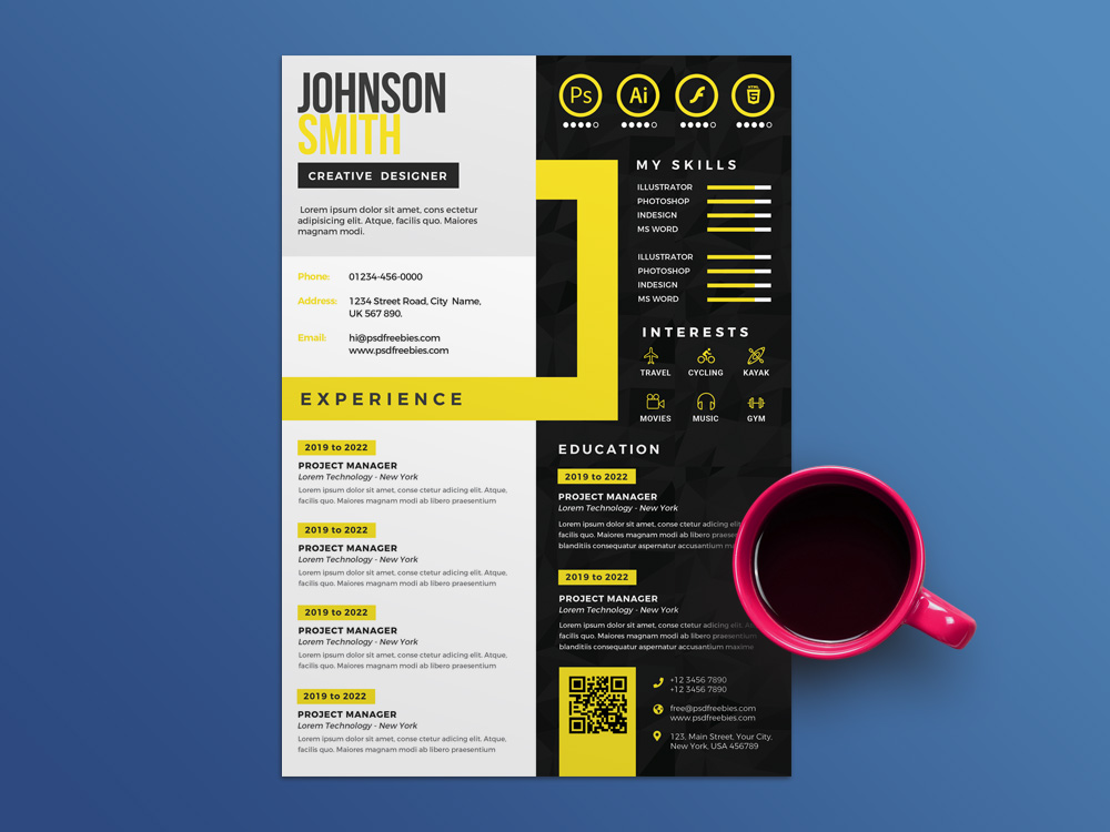Here Is Free Creative Multicolor CV Template In PSD File Format With Clean And Professional Look This Resume Design Templates Best For