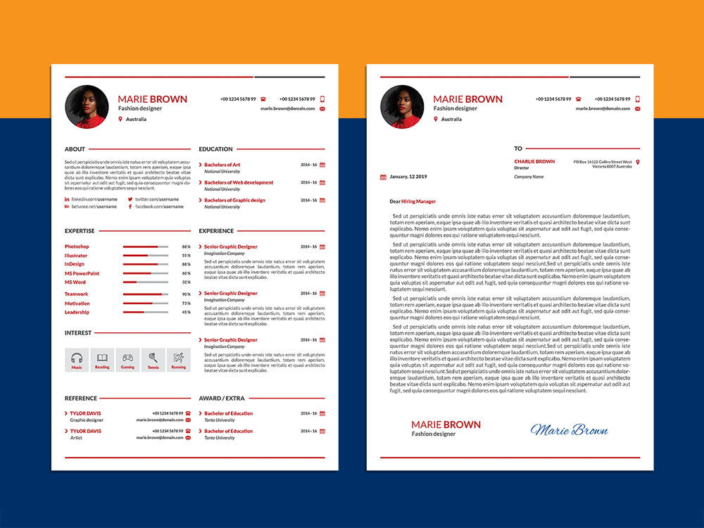 Here Is Free Modern Infographic Cv Template With Cover Letter Clean Resume Designs Are Easy To Use And Customize So You Can Quickly Make Your
