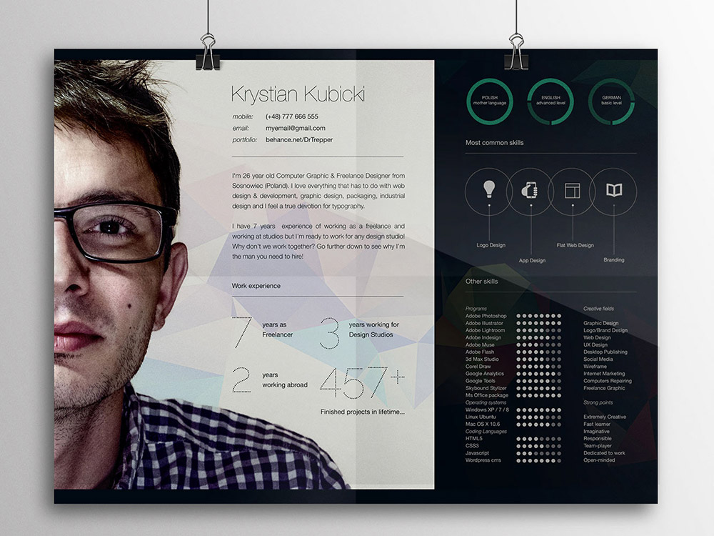 free creative horizontal curriculum vitae template in psd