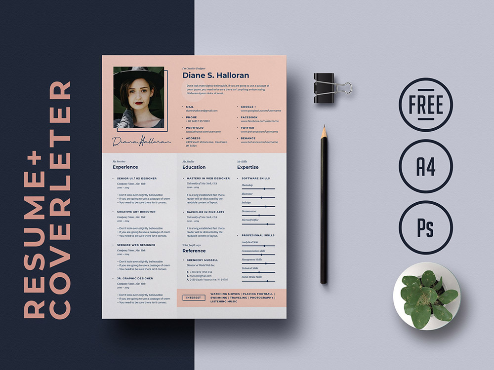 Here Is Free PSD Job Resume Template For Your Next Interview It Includes A Single Page Cv And Cover Letter Very Easy To Customize The