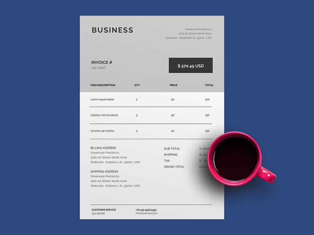 Free Elegant Invoice Template For Billing Purpose