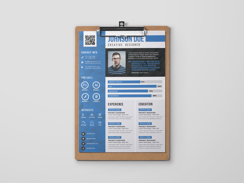 free creative cv template with three colors option