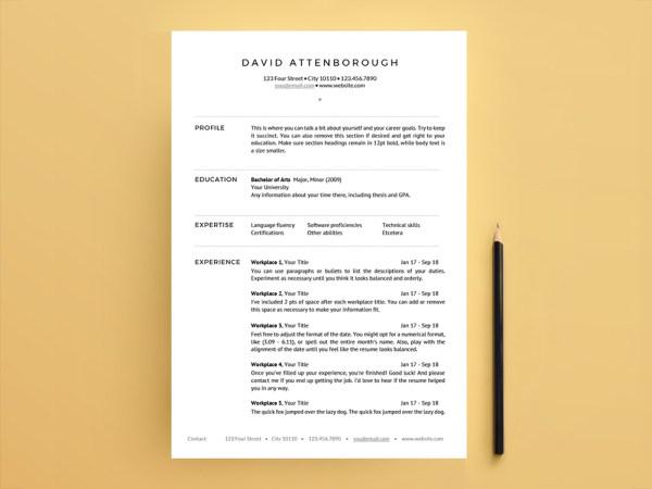 David Attenborough Resume - Free One Page Resume Template