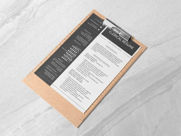 Free Clerical Resume Template with Sample Text