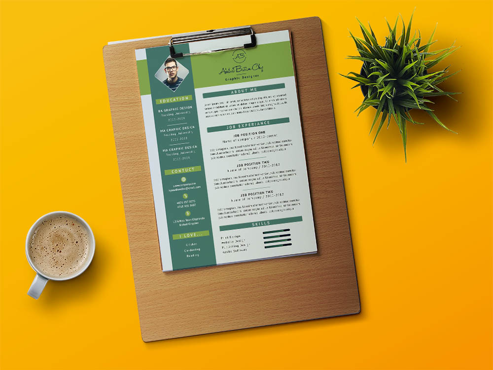 Free Creative Designer CV Template in PSD File Format