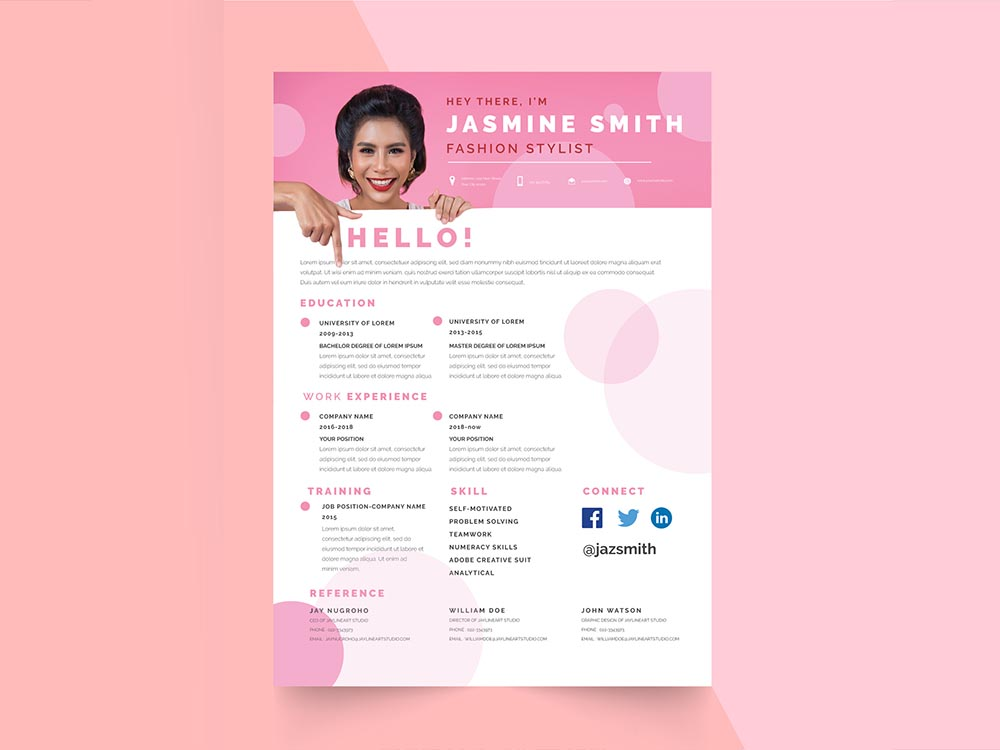 free fashion stylist resume template with feminine look