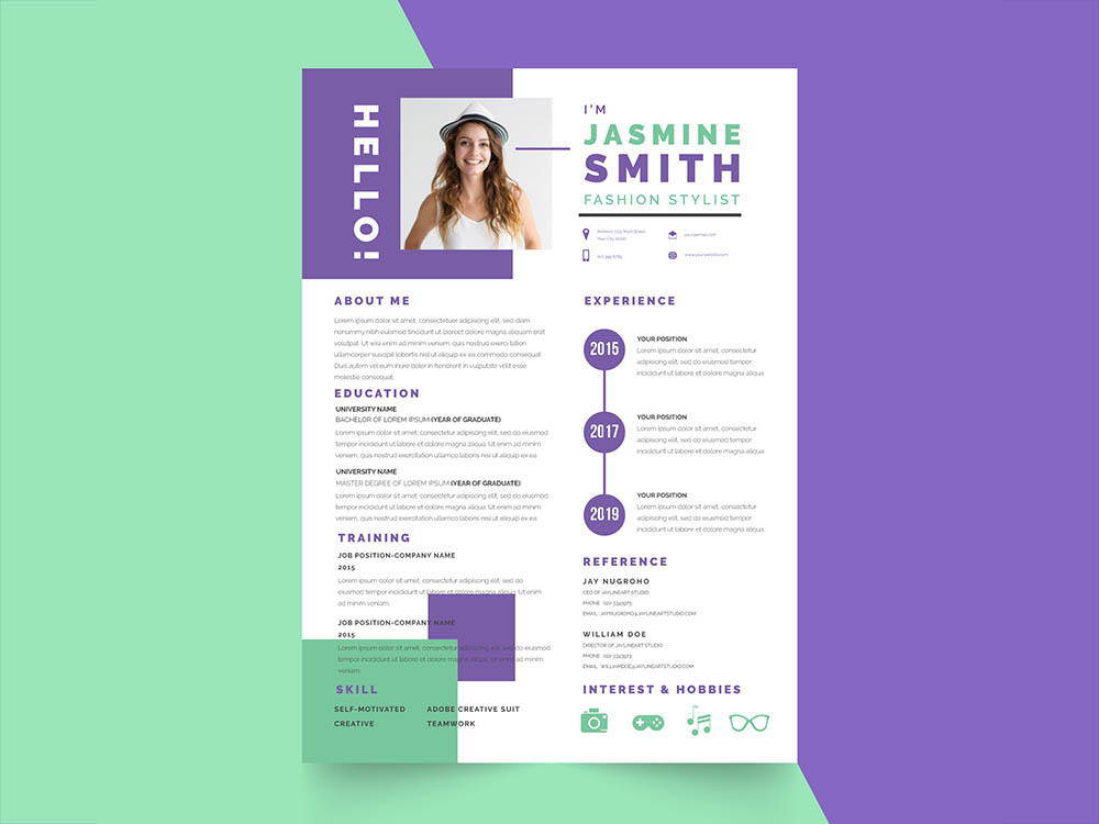 free fresh stylist resume template with for your job interview. Black Bedroom Furniture Sets. Home Design Ideas