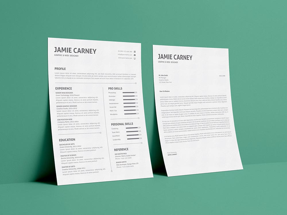 Free Simple Resume Layout Template with Matching Cover Letter