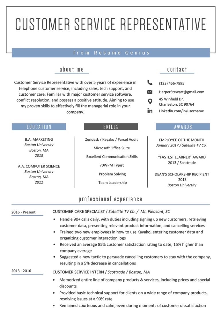 Free Customer Service Resume Template with Minimalist and Elegant Look