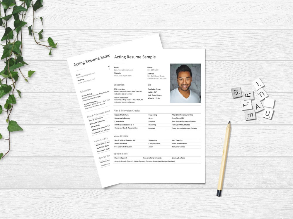 Free Acting Resume Template with Elegant Look