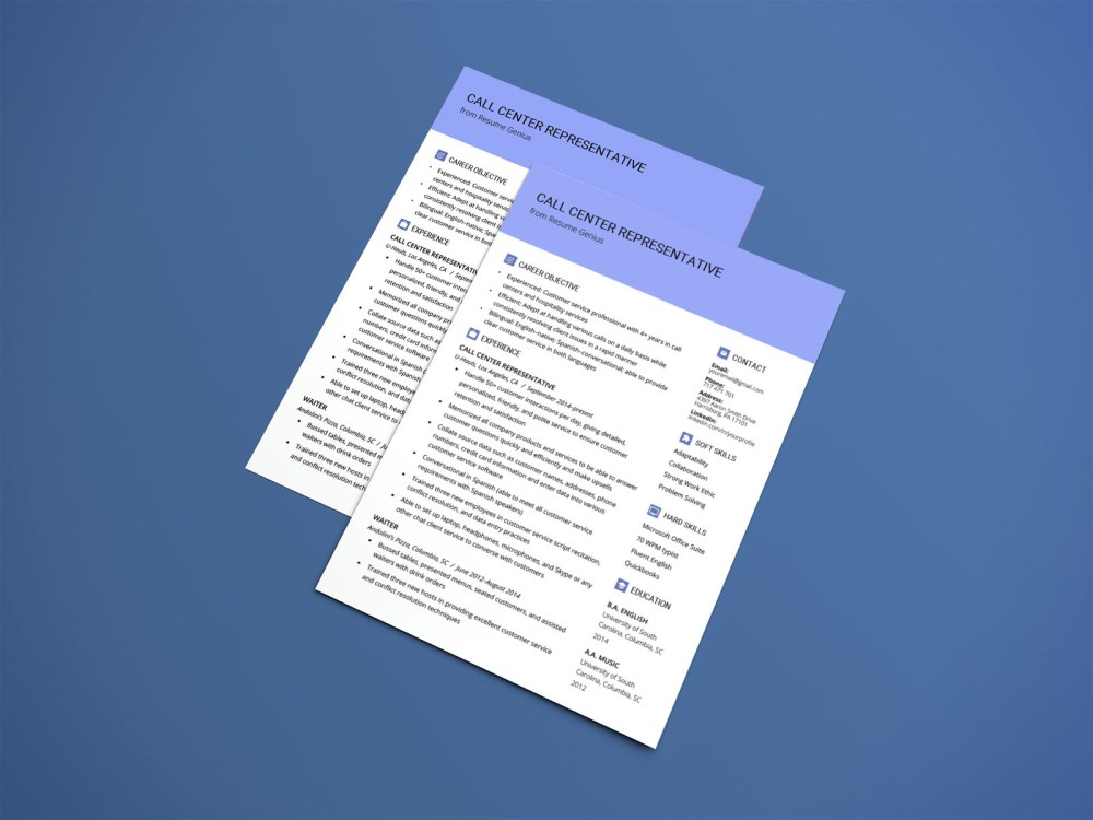 Free Call Center Resume Template with Simple and Elegant Look