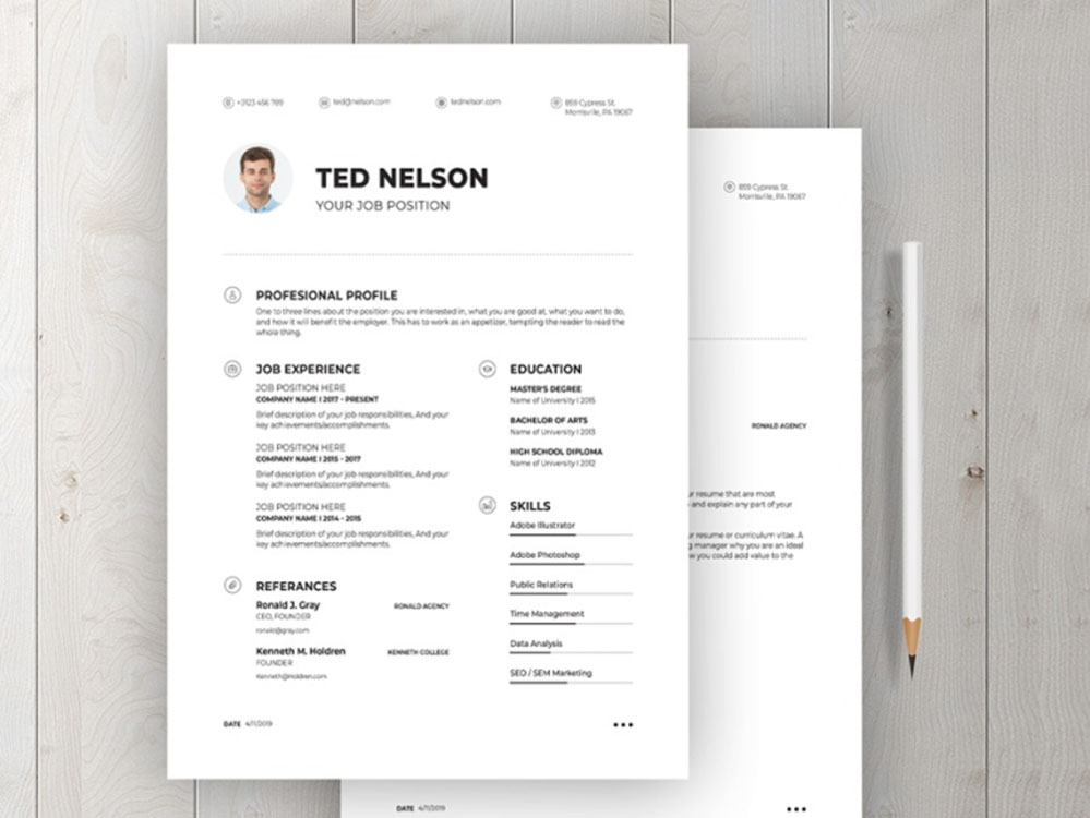Free Professional CV/Resume Template with Simple and Elegant Look