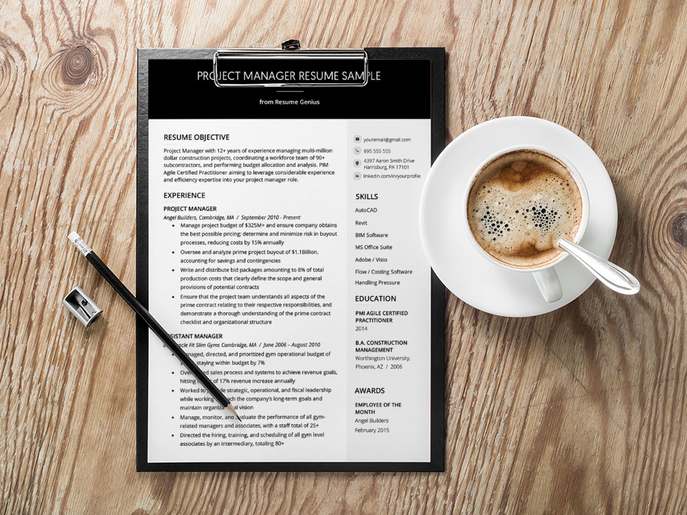 Free Project Manager CV Resume Template