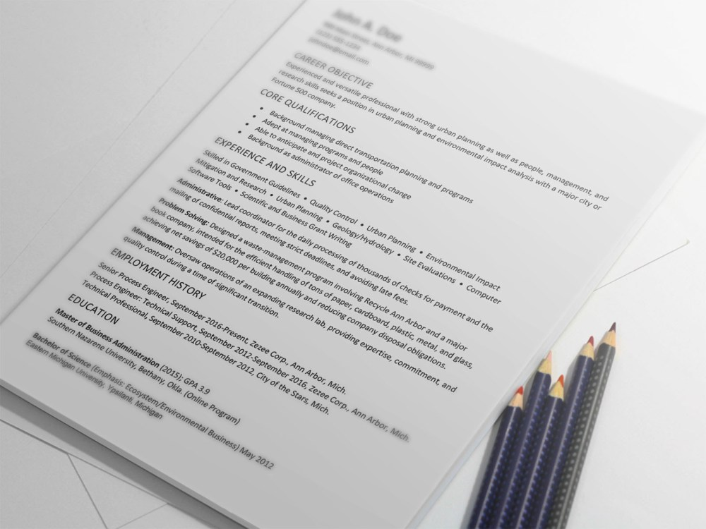 Free Urban Planner Resume Template