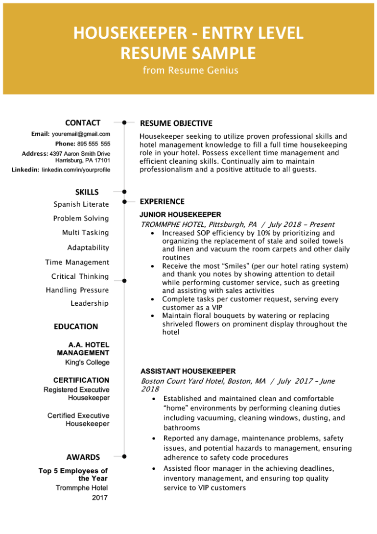 Free Entry-Level Housekeeping Resume Template