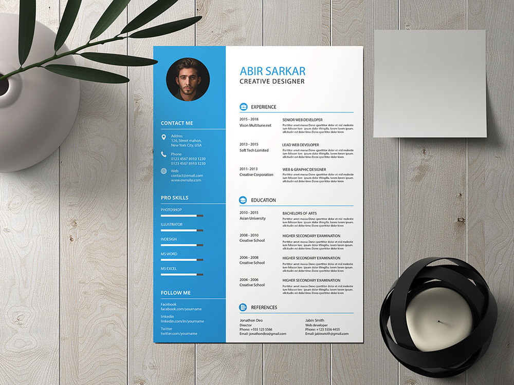 Free Creative Resume Template with Mockup