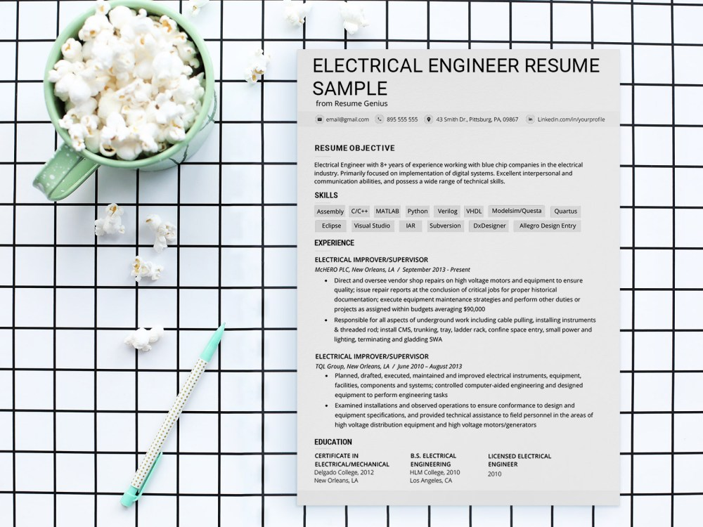 Free Electrical Engineer Resume Template