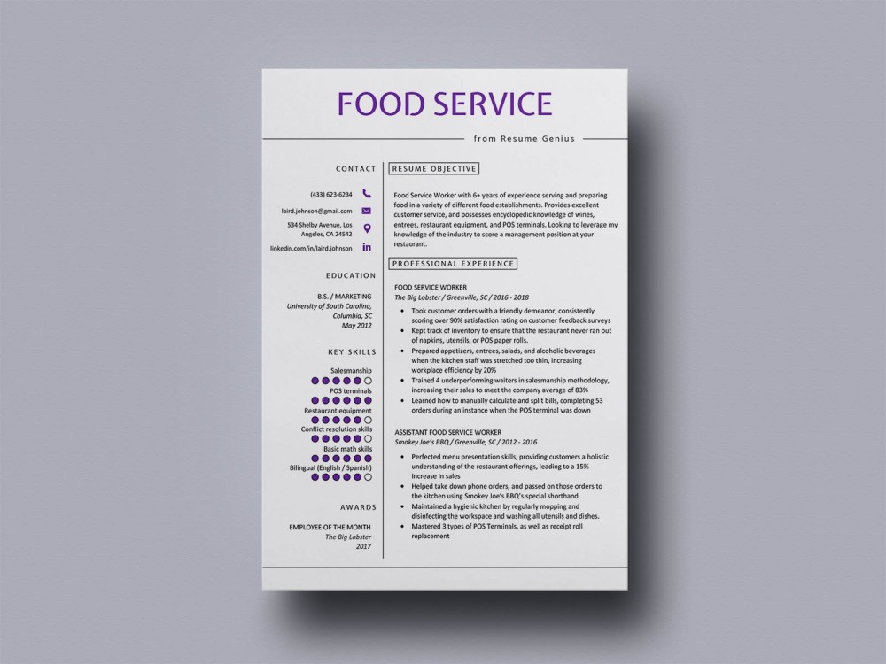Free Food Service Resume Template