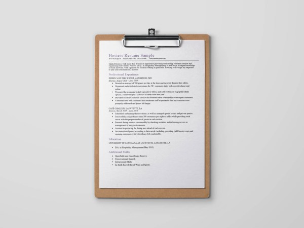 Free Hostess Resume Template with Sample