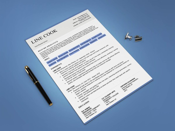 Free Line Cook Resume Template