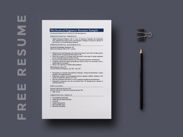 Free Mechanical Engineering Resume Template