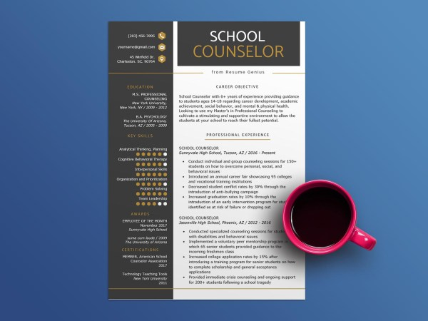 Free School Counselor CV Resume Template with Clean and Minimalist Design