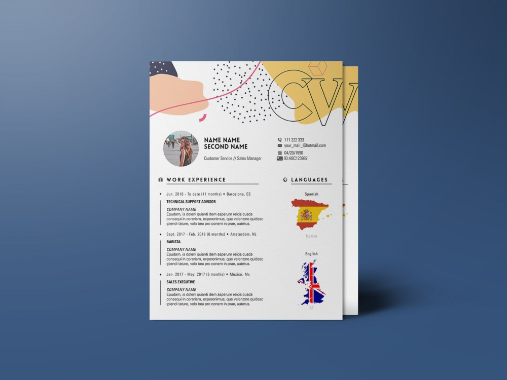 Free Trendy Indesign Resume Template
