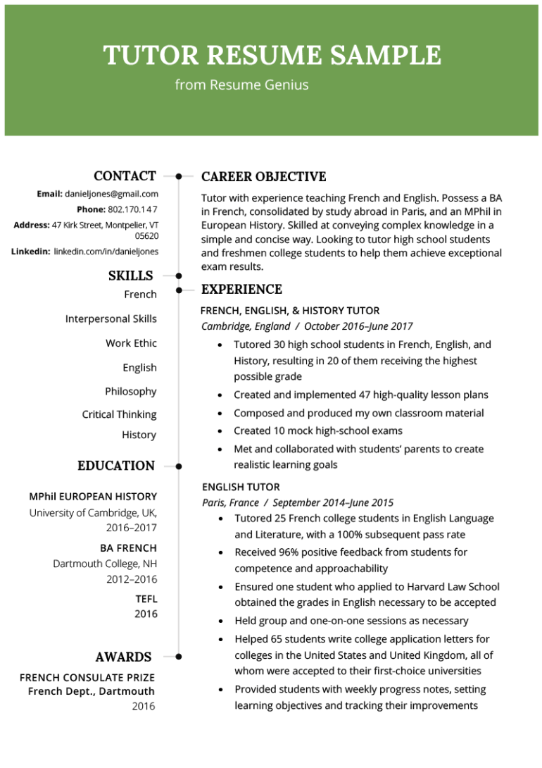 Free Tutor Resume Template with Clean and Simple Design