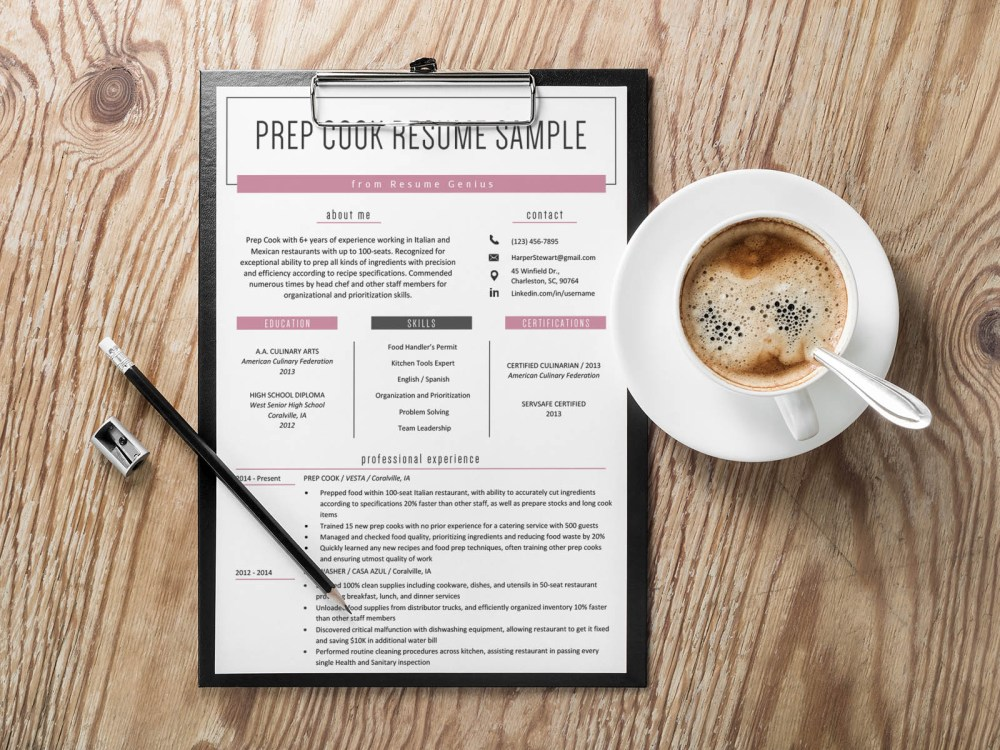 Free Prep Cook Resume Template