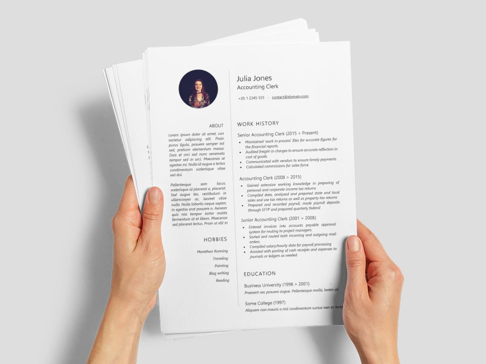 Free Accounting Clerk Resume Template with Sample Text