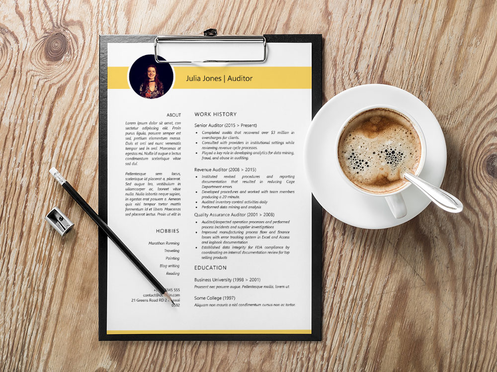 Free Auditor Resume Template with Sample Text