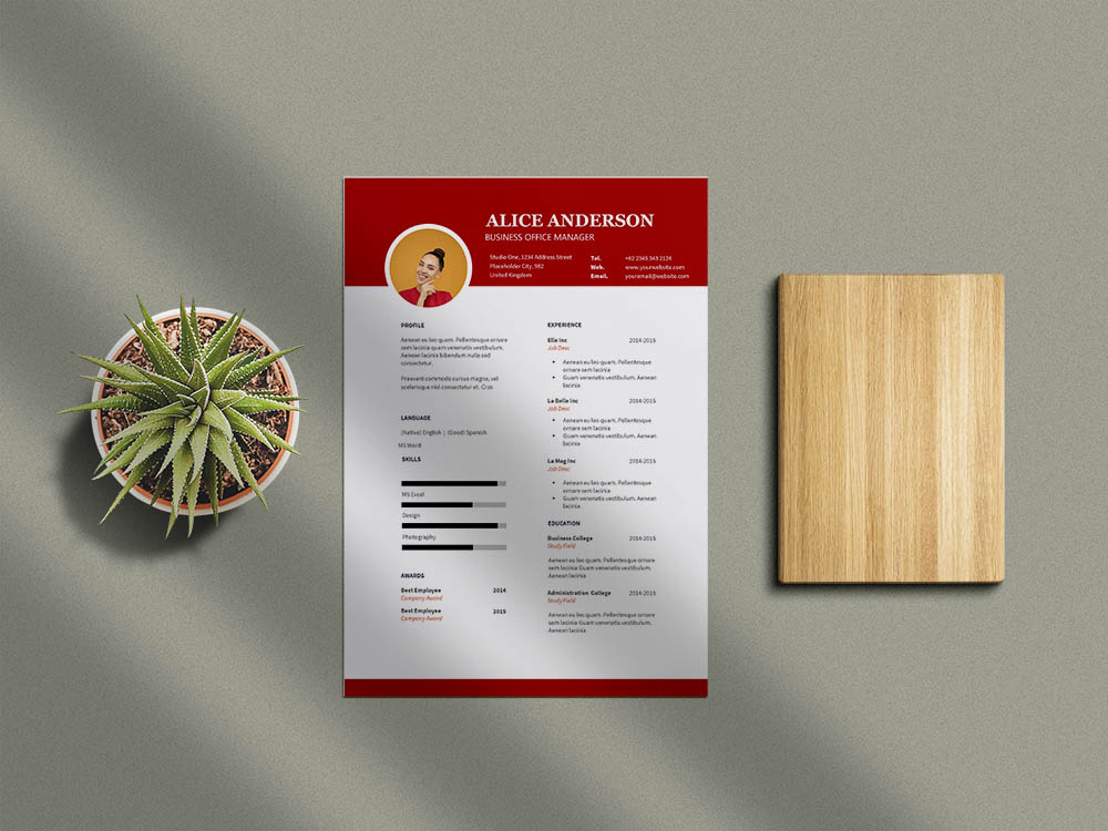 Free Business Office Manager Resume Template for Job Seeker