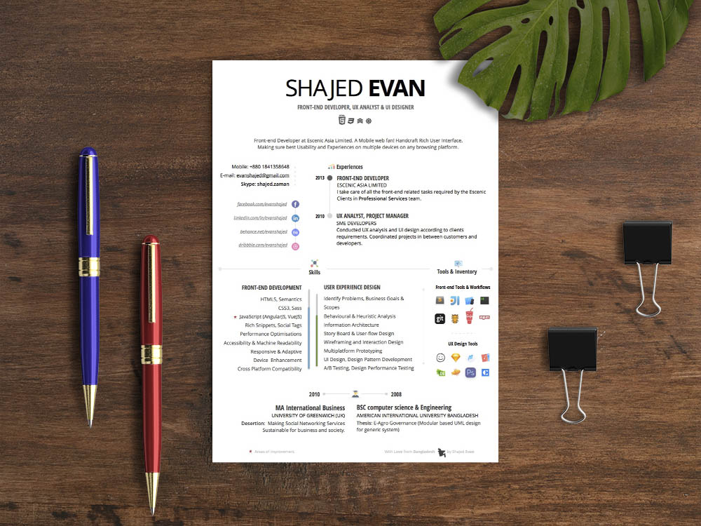 Free Creative Apple Pages Resume Template with Simple Design