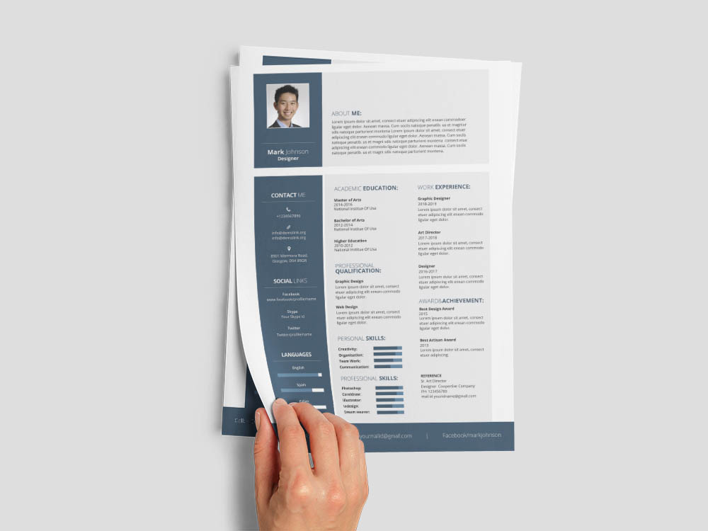 Free Designer Resume for with Simple and Elegant Look