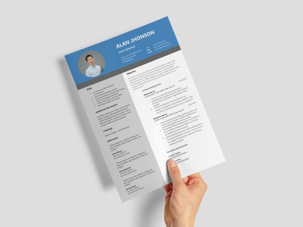 Free Event Manager Resume Template for Job Seeker