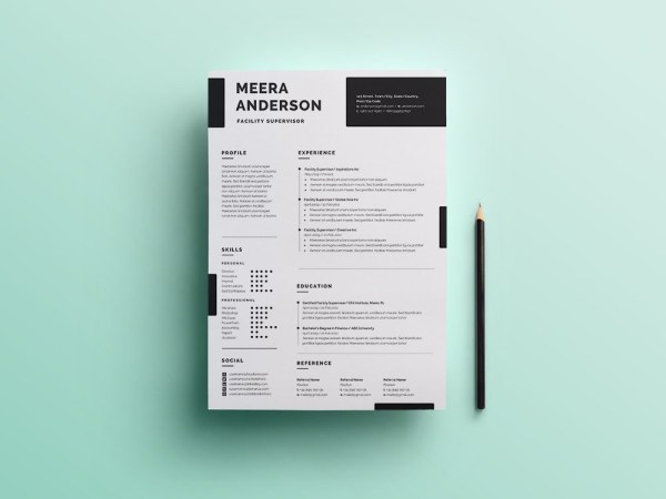 Free Facility Supervisor Resume Template for Job Seeker