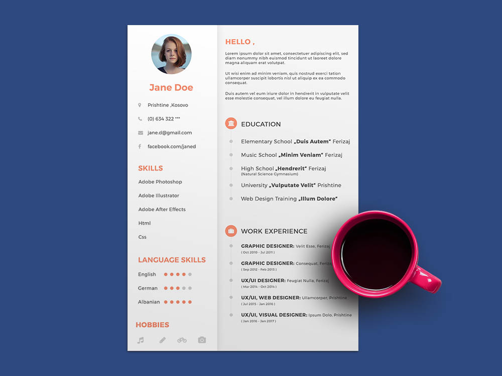 Free General PSD ResumeTemplate for Any Job Opportunity