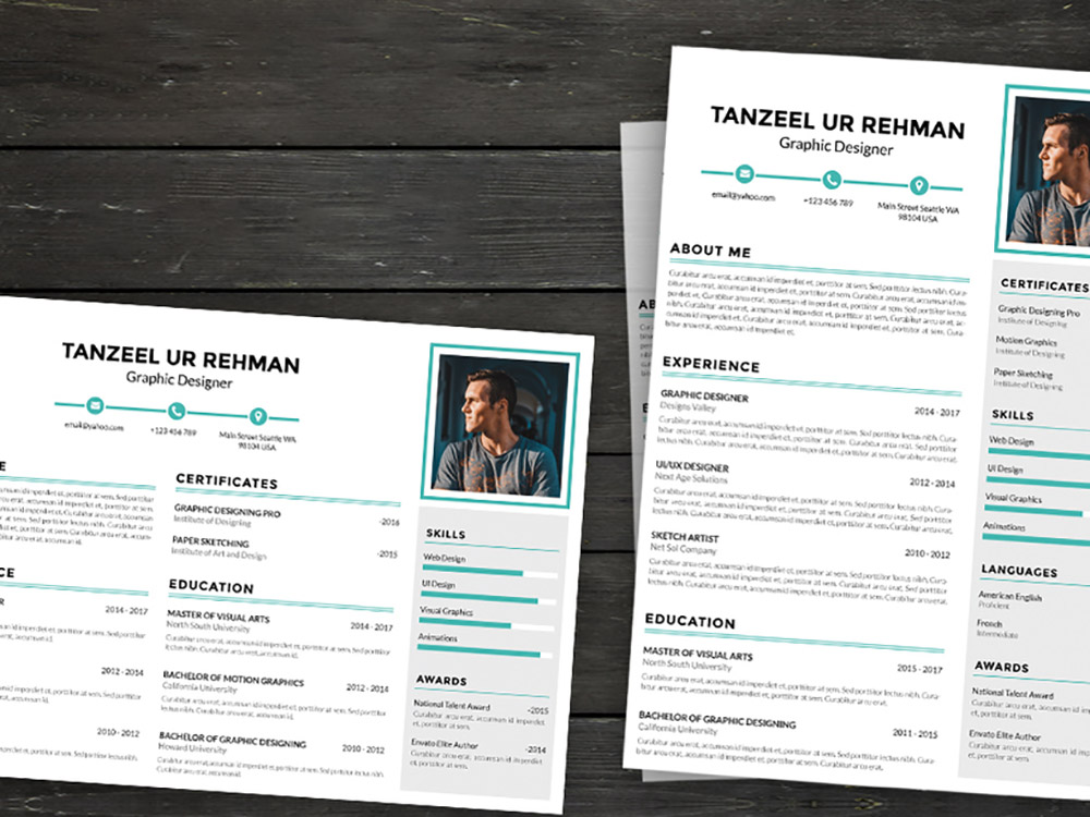 Free Landscape & Portrait Resume Template with Simple Design