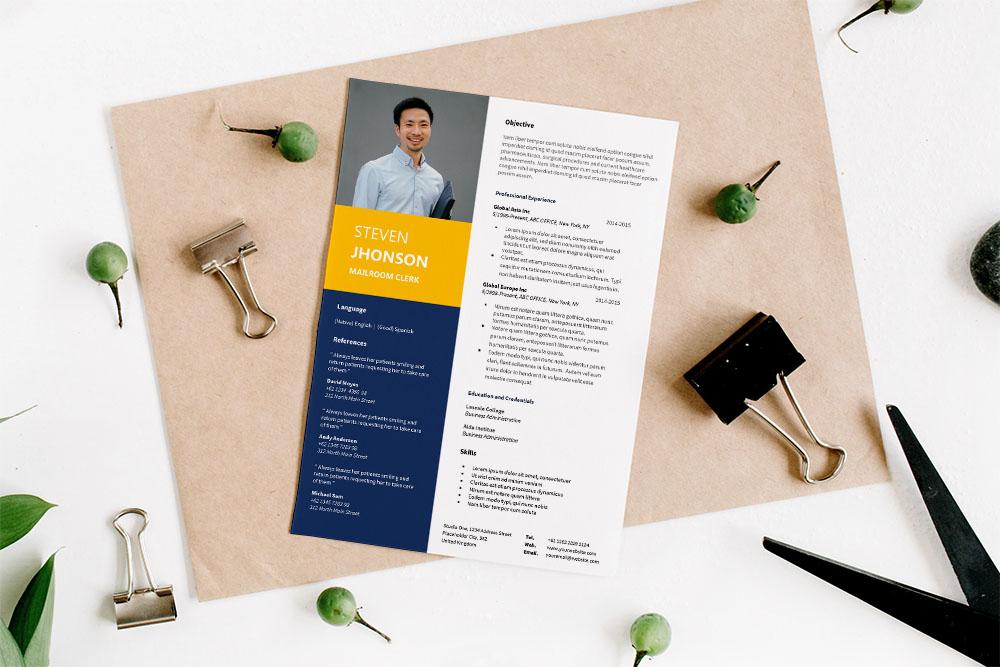 Free Mailroom Clerk Resume Template for Job Seeker