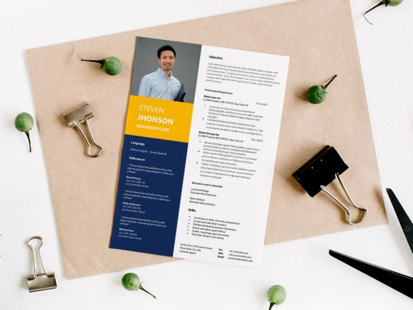 Free Mailroom Clerk Resume Template for Job Seeker