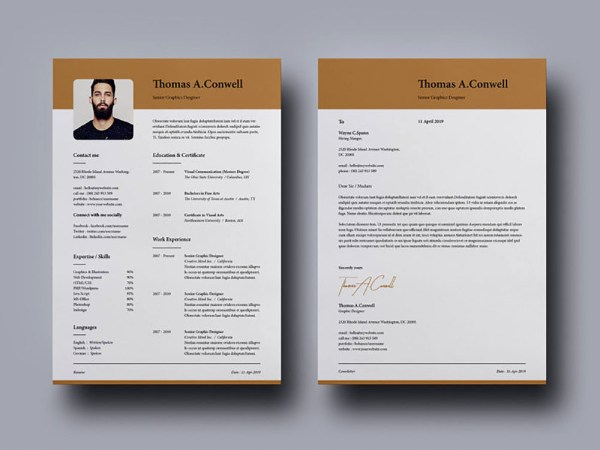 Free Modern Indesign Resume Template with Matching Cover Letter