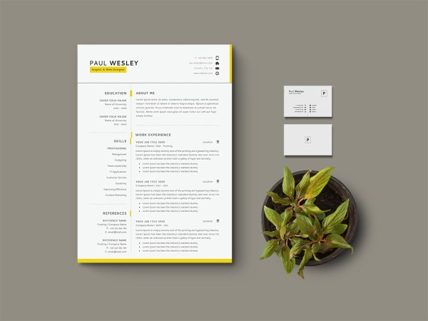 Free Resume Template with Matching Cover Letter and Business Card