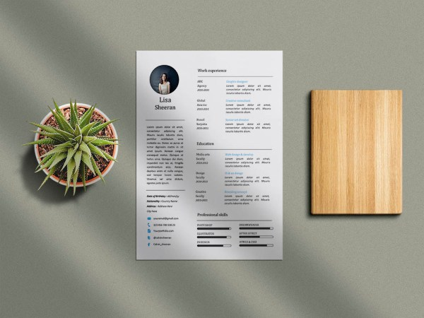 Free Simple MS Word Resume Template with Clean and Minimal Look