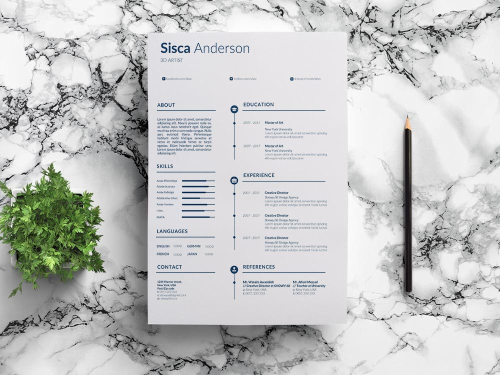Free 3D Artist Resume Template with Clean and Professional Look