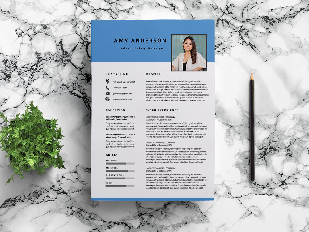 Free Advertising Manager Resume Template for with Modern Look