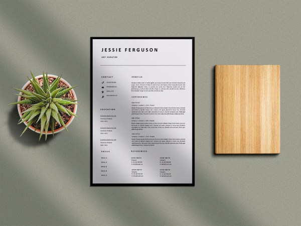 Free Art Curator Resume Template with Clean and Professional Look