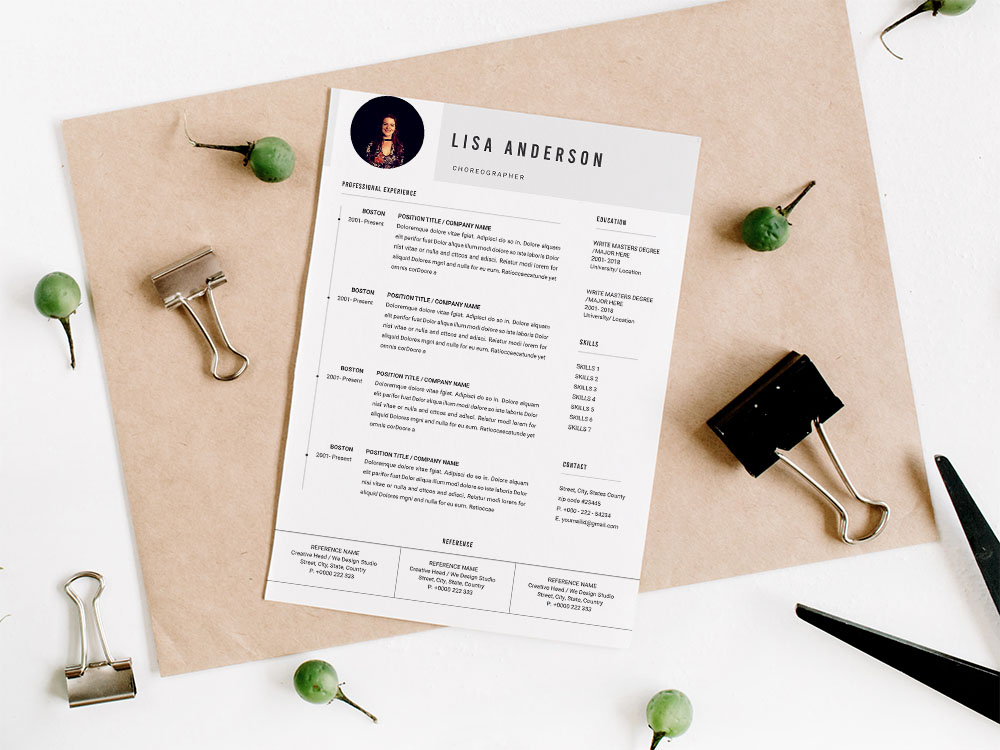 Free Choreographer Resume Template with Professional Look