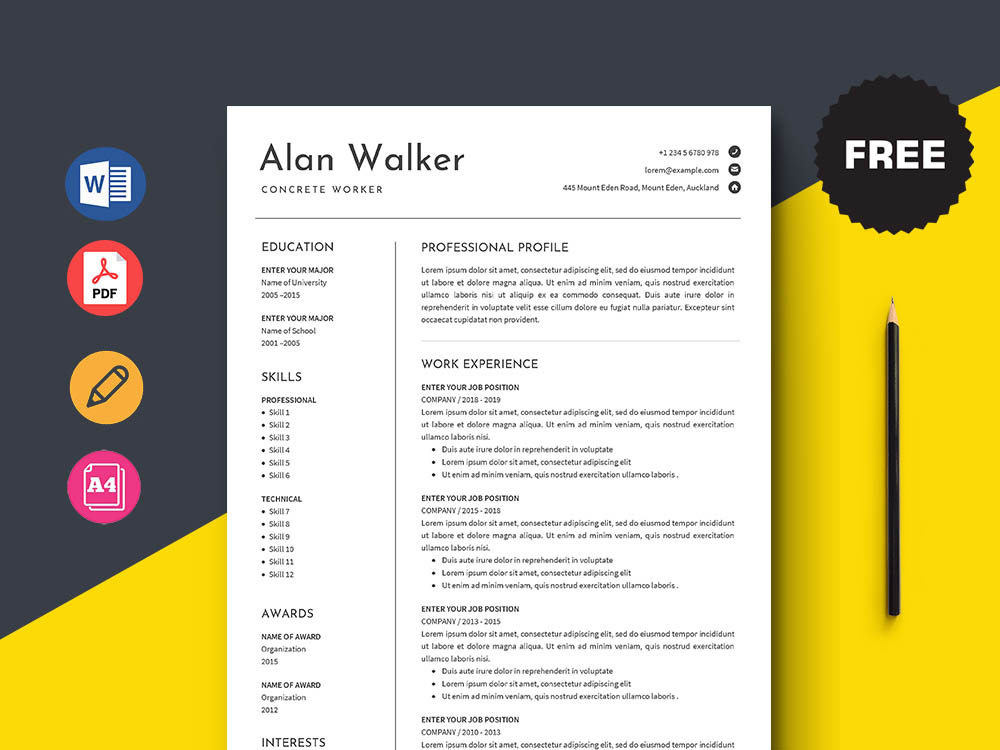 Free Concrete Worker Resume Template